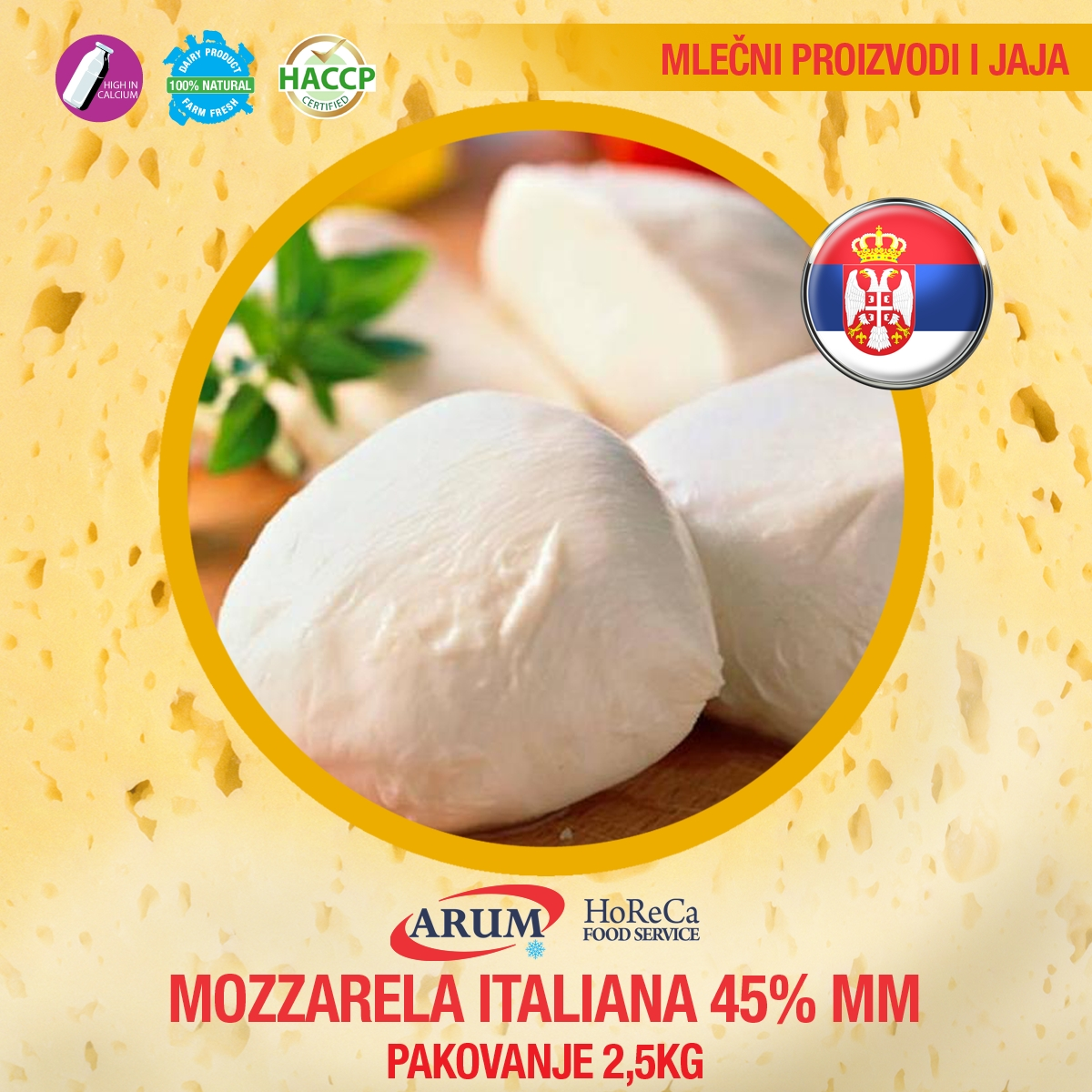 Mozzarela italiana 45%mm 2,5 kg