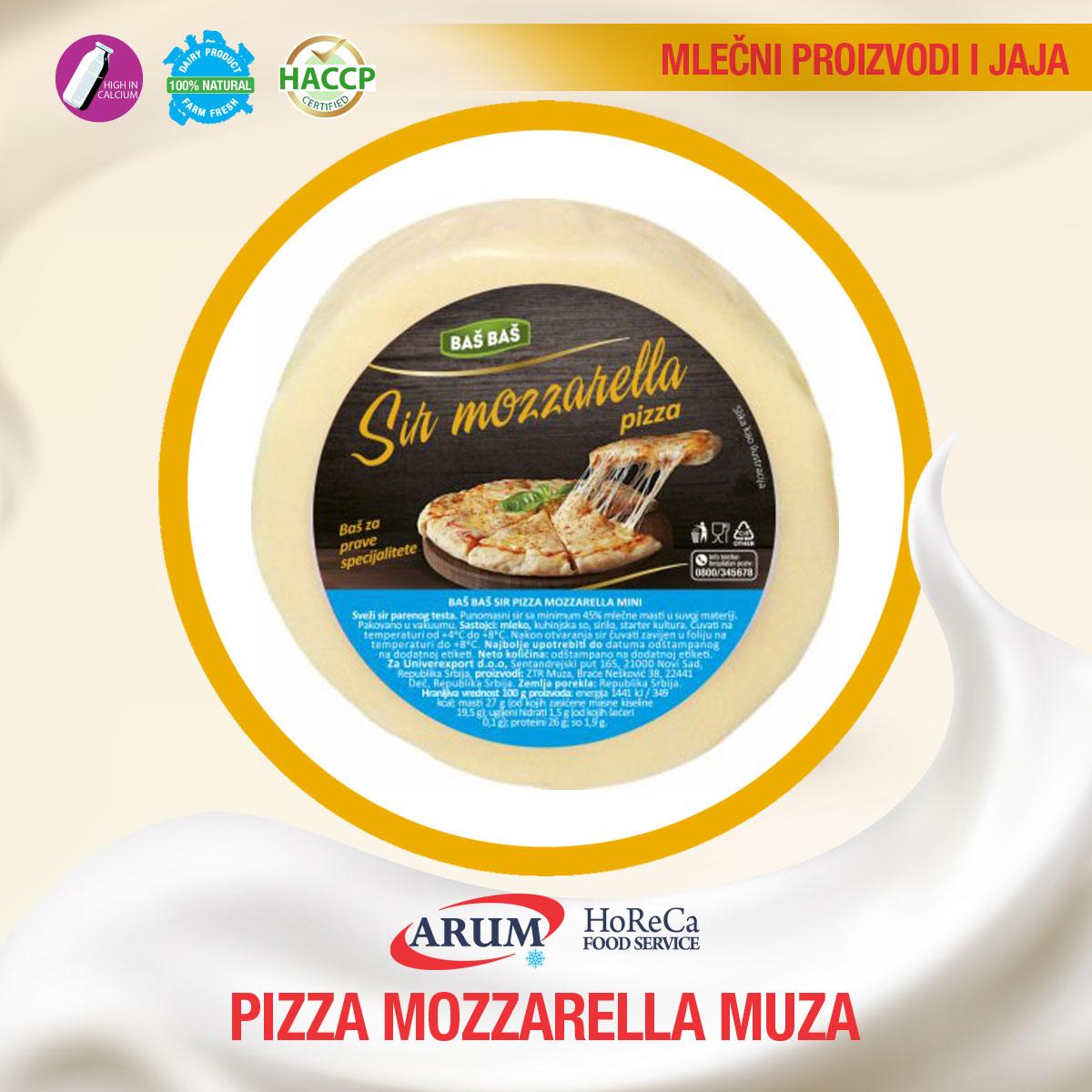 PIZZA MOZZARELLA 45%mm Muza cca 1.3 kg (cca 15kg/1#)