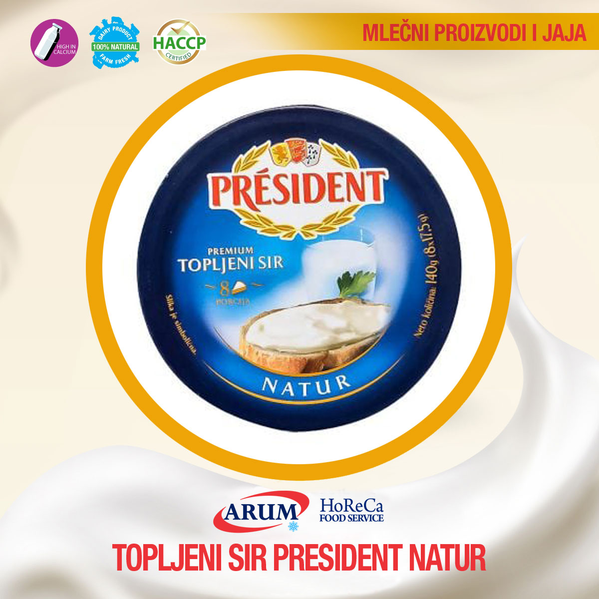 Topljeni sir president natur 140gr