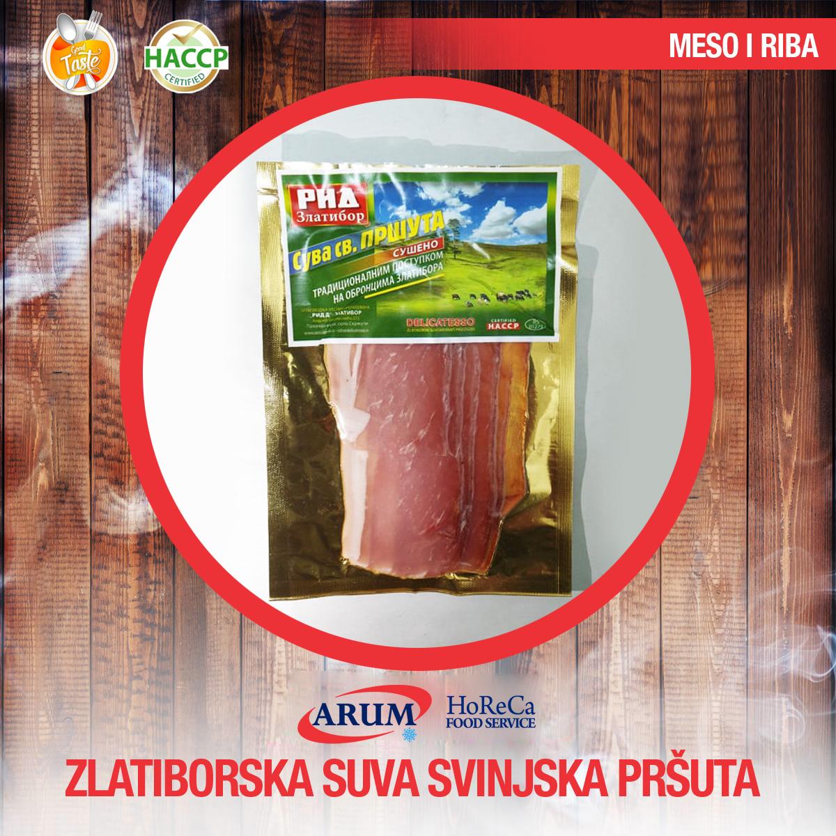 Zlatiborska suva svinjska prsuta 250g slice (10/#)