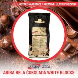 Ariba bela cokolada 1 kg white blocks (10/1#)