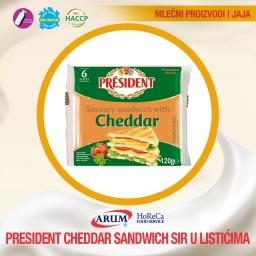 PRESIDENT CHEDDAR SANDW. 120g (60/#)
